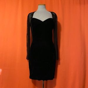 1990s Roberta Mesh Sleeve Velvet Dress